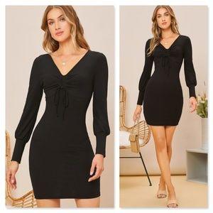Black Rib Knit Long Sleeve Mini Dress